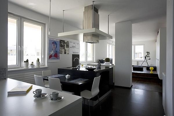 Aranżacja wnętrza Jak wykorzystać kolory czarny i biały   -> Kuchnia Z Wyspa Okap